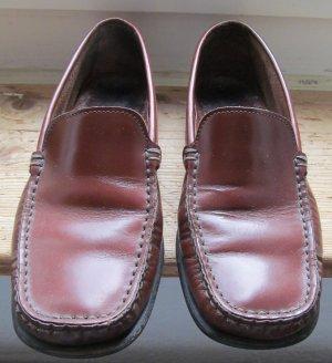 Rotbraune Leder Schuhe von Made in Italy