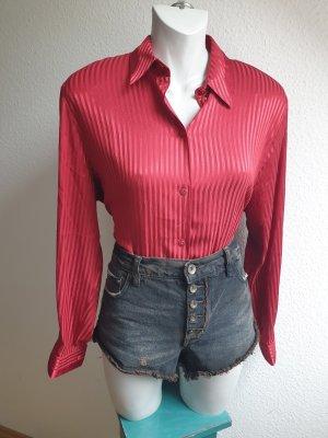 Rote 80s Vintage Satinbluse mit Streifen