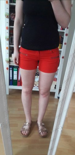 Rote Basic Shorts Reißverschluss Sommer Hotpants