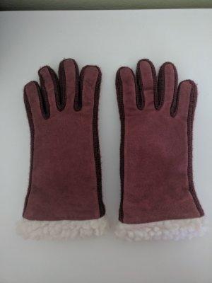 Rote/beerenfarbene Raulederhandschuhe/Damenhandschuhe, Gr. S/7