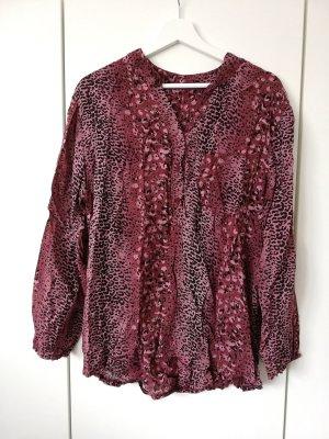 Rote Bluse mit Animalprint in Patchwork