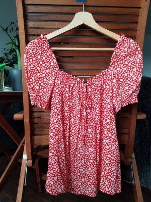 Rote Bluse mit Blumenmuster von Sezane, Größe XS