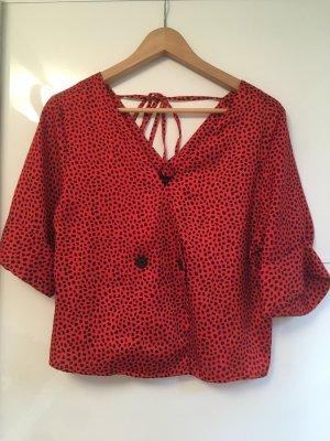 Rote Bluse mit schwarzen Punkten von Topshop