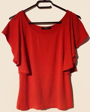 rote Bluse mit Trompetenärmel, U-Schnitt, Gr. S
