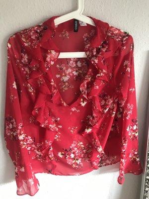 Rote Bluse Rüsschen Volants Blumig Verspielt Sommerlich
