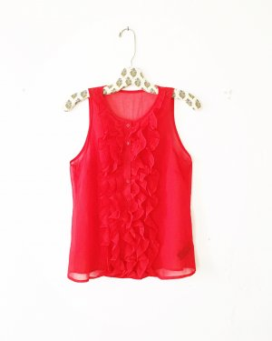 rote chiffon bluse • rüschen • top • vintage • bohostyle