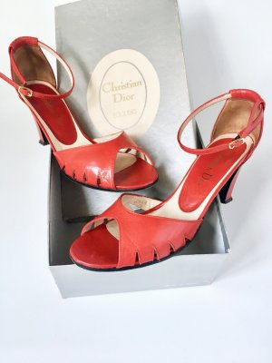 Christian Dior Strapped Sandals red leather