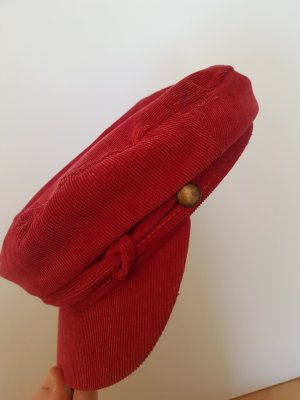 Rote cord Baker Boy Mütze