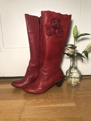 Brako Bottes à talon rouge-rouge foncé cuir