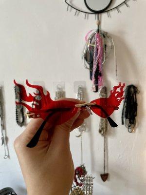 Dolls Kill Owalne okulary przeciwsłoneczne złoto-czerwony