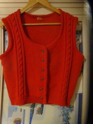 Smanicato lavorato a maglia rosso Acrilico