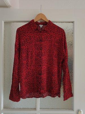 Rote Hemdbluse mit Animal Print Leopard