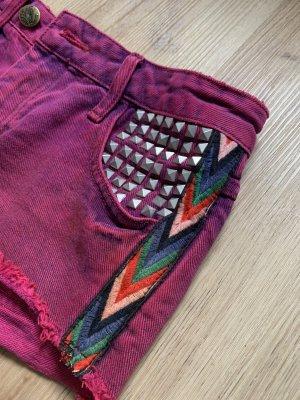 Rote High-Waist Jeansshort
