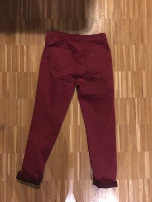 Oui Jeans vita bassa rosso scuro