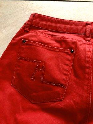 Rote Jeans von Zara mit Strass
