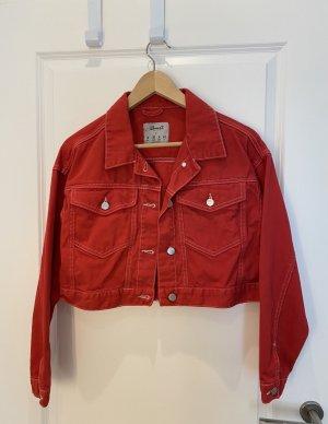 Rote Jeansjacke
