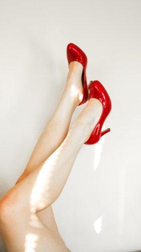 Rote Lack Echt Leder High Heels super sexy  aus Mailand
