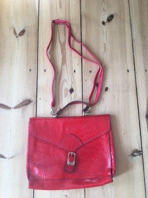 Rote Lack Satchel Bag, vintage