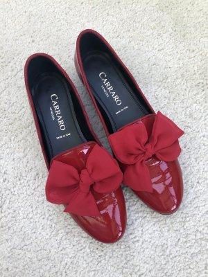 Carraro Venezia Ballerina di pelle verniciata rosso scuro
