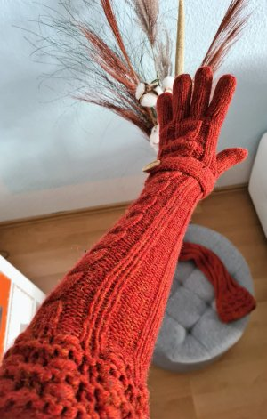H&M Knitted Gloves carmine-red wool