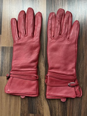 H&M Leather Gloves red