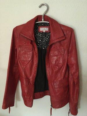 Rote Lederjacke von Marie Lund, Größe 36