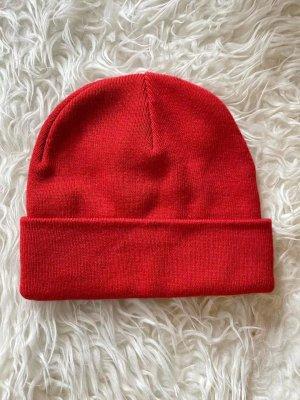 Monki Knitted Hat dark red viscose