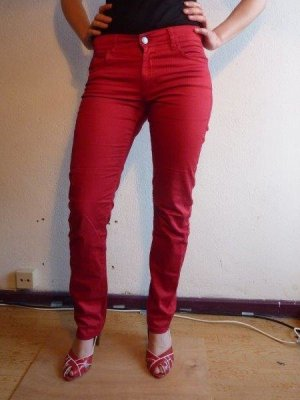 H&M Stretch Trousers red cotton