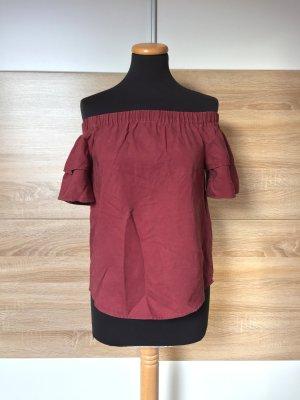 Rote offshoulder Bluse, Lyocell Shirt von H&M, Gr. 34 (NEU)