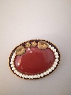 rote ovale Brosche vintage