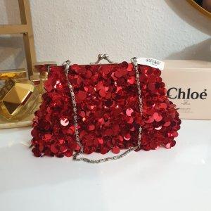 Rote Pailletten Glitzer Tasche mit Etikett von Irina