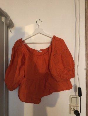 Rote Puffärmel Bluse