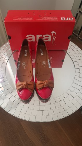 ara High-Front Pumps dark red leather