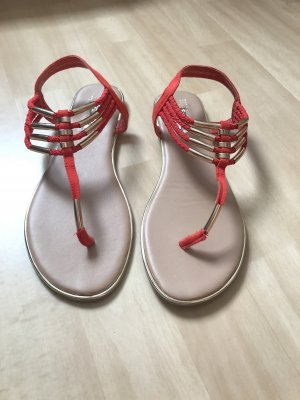 Primark Toe-Post sandals brick red-gold-colored
