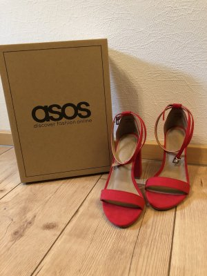 Asos Strapped High-Heeled Sandals red