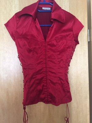 Rote Satin Bluse