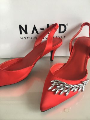 Rote satin Pumps