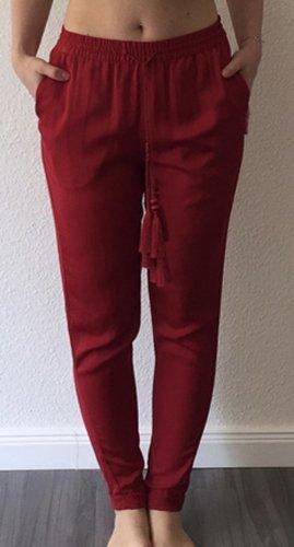 H&M Conscious Collection Pantalon fuselé rouge foncé-rouge brique polyester