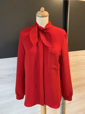 René Lezard Tie-neck Blouse red polyester
