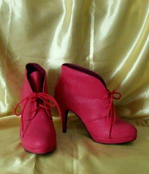 Rote Schnürstiefeletten von Body Flirt, Gr.40 - 1 x getragen, super Zustand