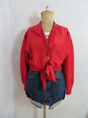 Rote Seidenbluse - 100% Seide - Gr. S M L - 80er Jahre Vintage