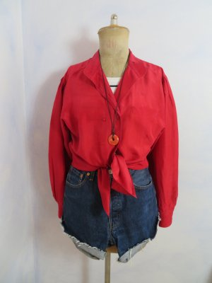 Vintage Silk Blouse red