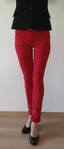 Zara Woman Slim Jeans dark red cotton