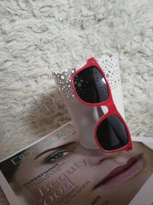 Takko Angular Shaped Sunglasses white-bright red
