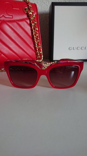 Christian Lacroix Angular Shaped Sunglasses red-brick red