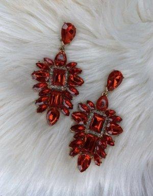Zdobione kolczyki czerwony-srebrny