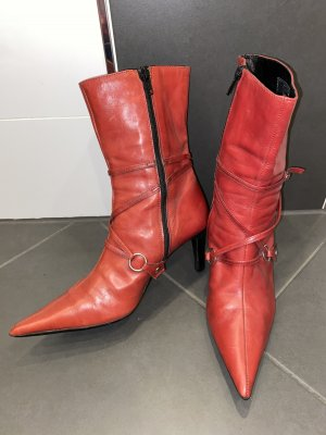 5th Avenue Zipper Booties brick red leather
