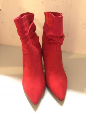 Bottines plissées rouge