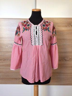 Rote Streifen Blumen Stickerei Bluse, Hemd von Zara, Gr. XS (NEUw.)