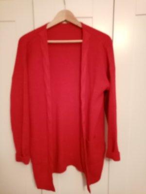 Veste tricotée en grosses mailles rouge